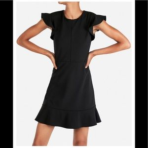 NWOT Express Ruffle sleeve fit and flare dress